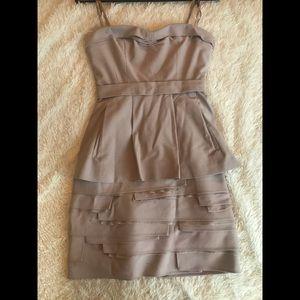 BCBG strapless mauve ruffle dress